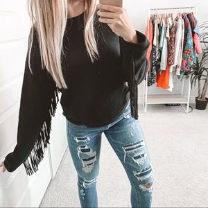 Dolce Vita Grace Fringe Crewneck Sweater Black